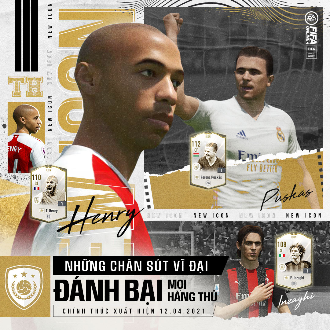 FIFA Online 4: Thierry Henry, Filippo Inzaghi cùng Ferenc Puskás ra mắt trong đợt ICONS mới