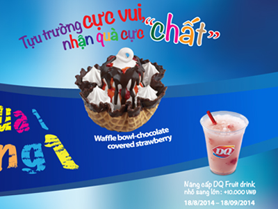 Mua 1 Waffle Covered Strawberry tặng ngay 1 Fruit Drink Small tại Dairy Queen