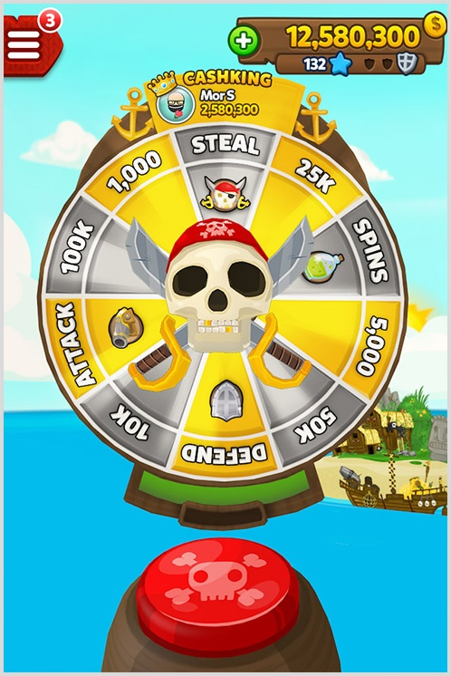 Pirate Kings giao diện quay số