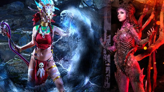 Cosplay game Blizzard: Witch Doctor vs Kerrigan